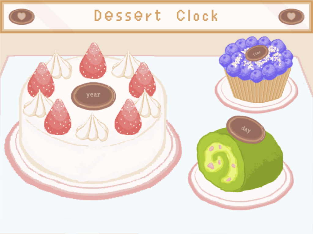 The full page of my dessert clock.